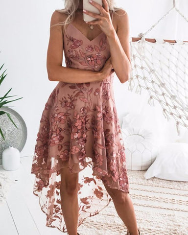 Spaghetti Strap Lace Embroidery Dip Hem Dress