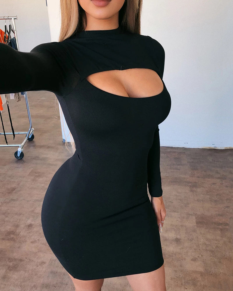 Solid Cutout Front Long Sleeve Bodycon Dress