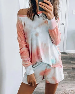 Long Sleeve Tie Dye Print Pajamas Set