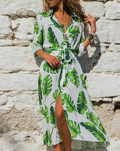 Palm Leaf Print Casual Shirt Dress