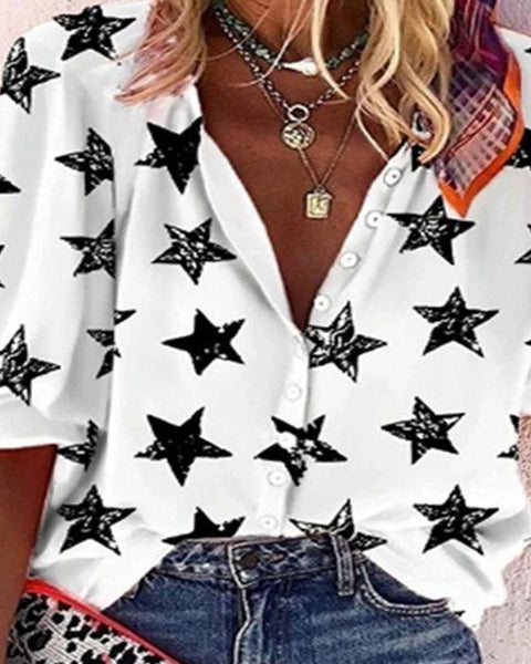 Star Print Long Sleeve Shirt