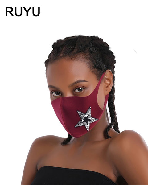 Star Pattern Studded Breathable Face Mask