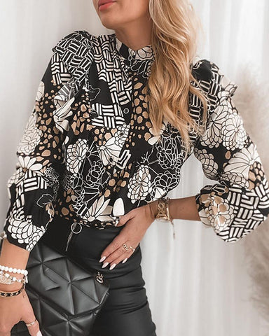 Printing Ruffle Long Sleeve Blouse