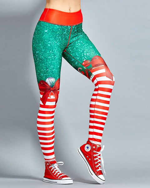 Christmas Bowknot Print High Waist Yoga Pants
