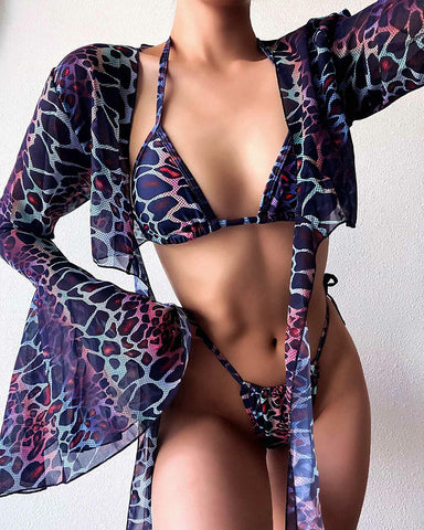 Leopard Long Sleeve Lace-up 3 Piece Bikini Sets