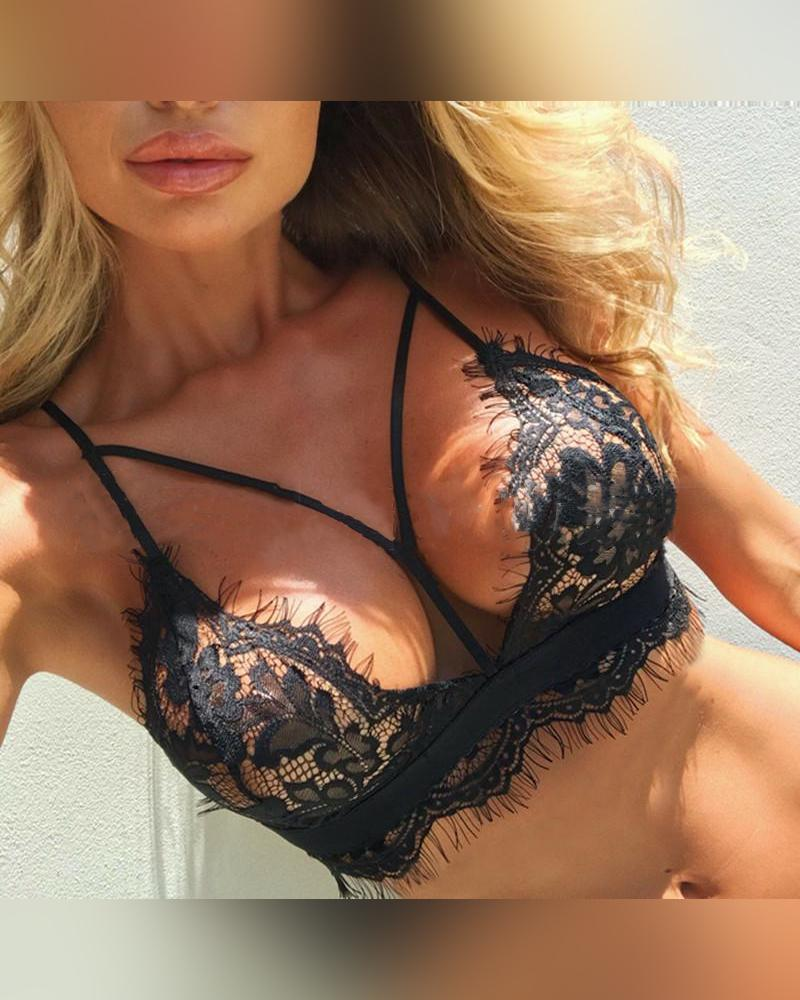 Solid Lace Cut-out Strap Bras