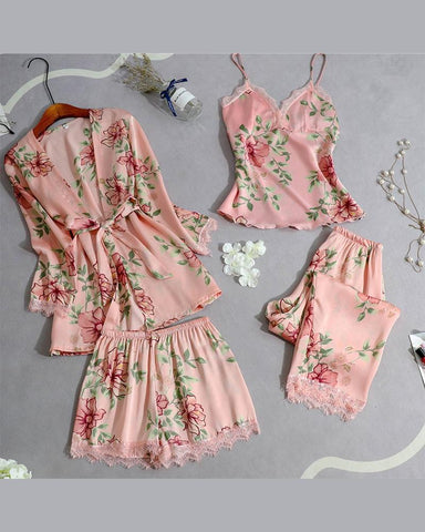 Floral Print Lace Hem Four-piece Pajamas