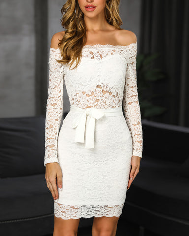 Off Shoulder Lace Bodycon Dress