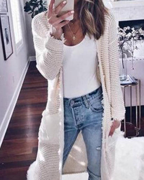 Fashion Women's Long Sleeve Solid Color Cardigan Jacket Casual Knit Sweater Jacket
