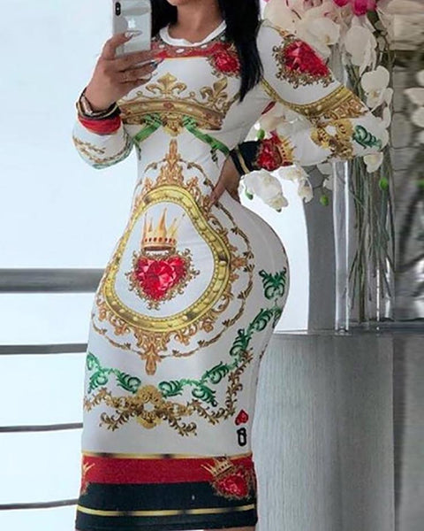 Totem Print Long Sleeve Midi Dress