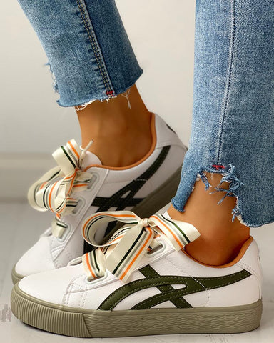 Colorful Ribbon Lace-Up Casual Sneakers