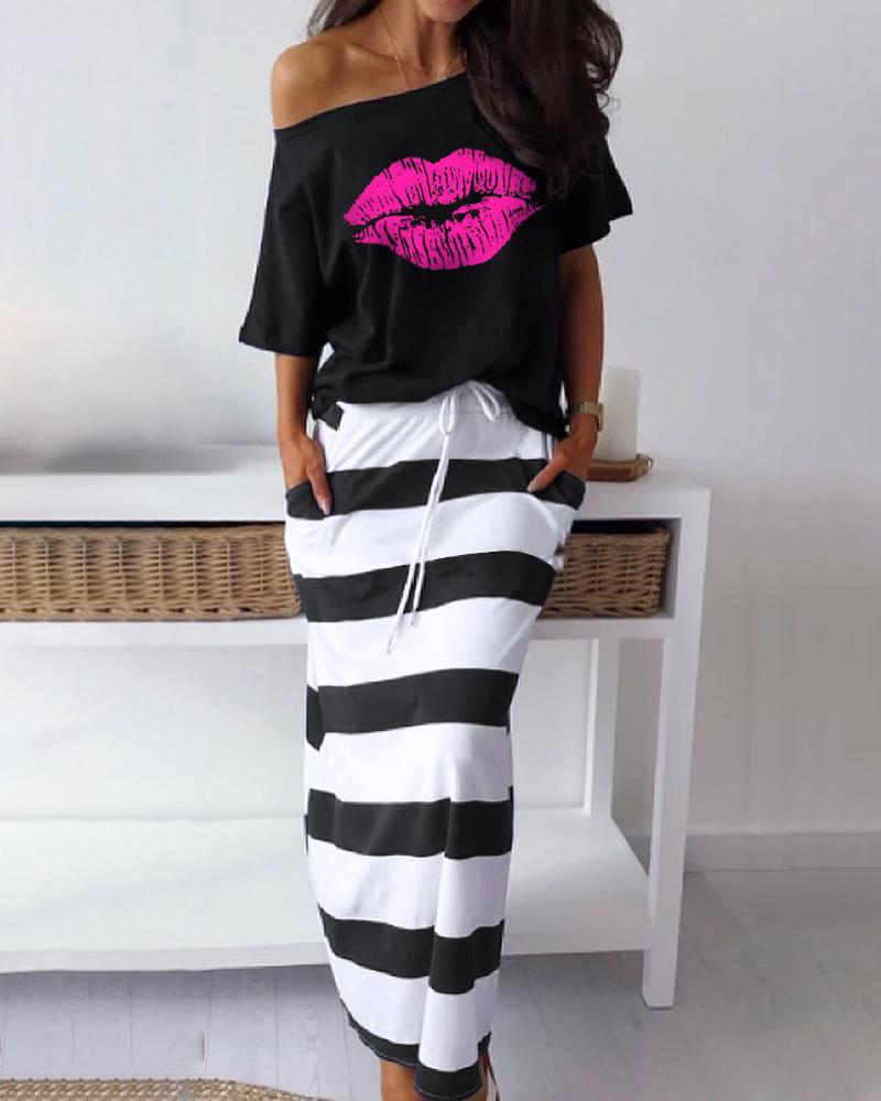 Lip Pattern T-Shirt & Striped Skirt Set