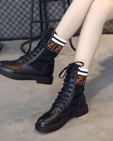 Solid Lace-Up Sock Boots