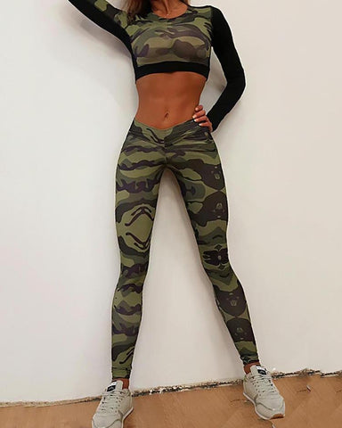 Sport Style Camouflage Print Tight Leggings