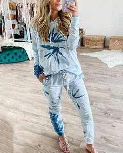 Tie Dye Printing Long Sleeve Hooded Pajamas Sets