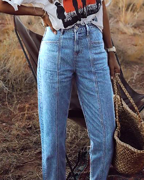 Pocket Design Straight Leg Cropped Jeans