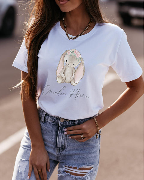 Easter Rabbit And Letter Print Short Sleeve T-shirt
