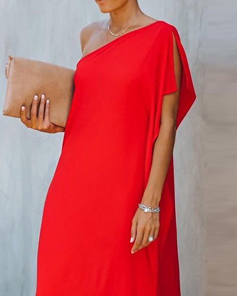 One Shoulder Slit Short Sleeve Maxi Dress