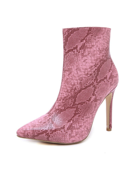 Snakeskin Pointed High Heel Ankle Boots