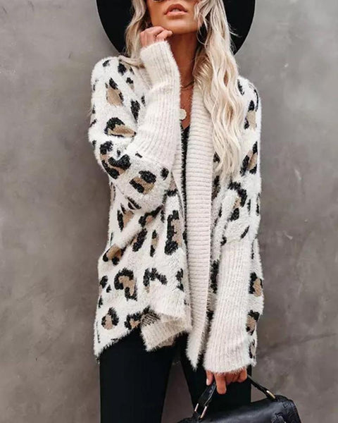 Leopard Print Long Sleeve Casual Cardigan