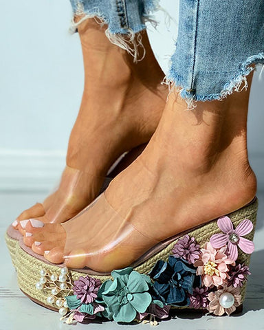 Floral Pattern Woven Flax Claer Perspex Wedge Sandals