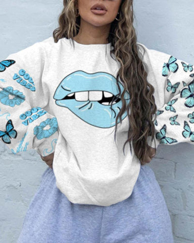 Lips Print Loose Long Sleeve T-shirts