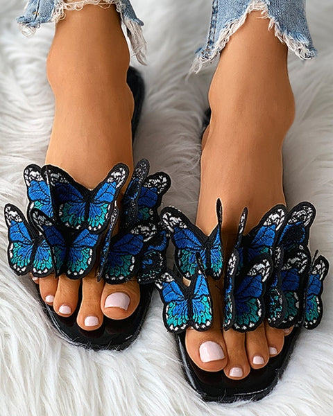 Butterfly Pattern Square Toe Flat Sandals