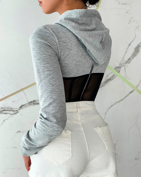 Sheer Mesh Long Sleeve Hooded Top