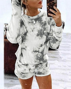 Tie  Dye Long Sleeve Sweatshirt With Shorts Suit Sets