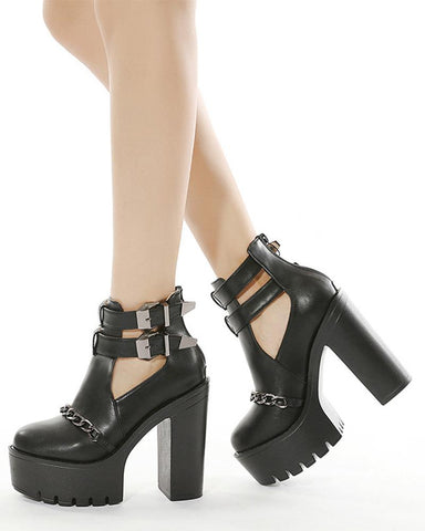 Round-toe Solid Color Buckles Hollow-out Platform High Heel Boots