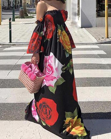 Off Shoulder Shirring Floral Print Maxi Dress