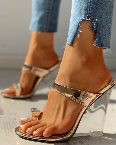 Pu Diamond Embellished Wedges Shoes