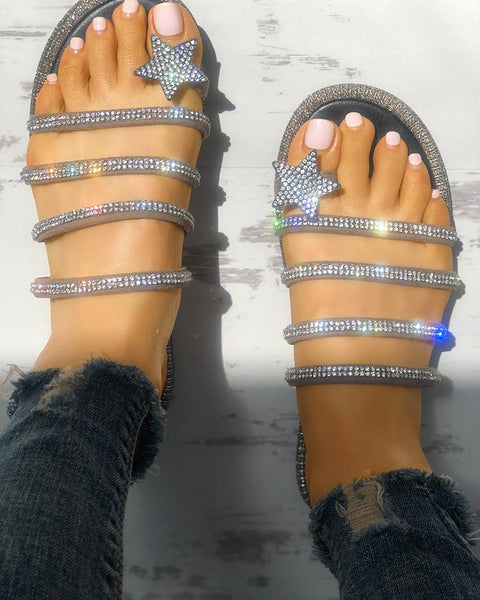 Shiny Star Multi-strap Non-Slip Flat Sandals