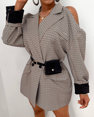 Cold Shoulder Plaid Pocket Design Blazer Coat