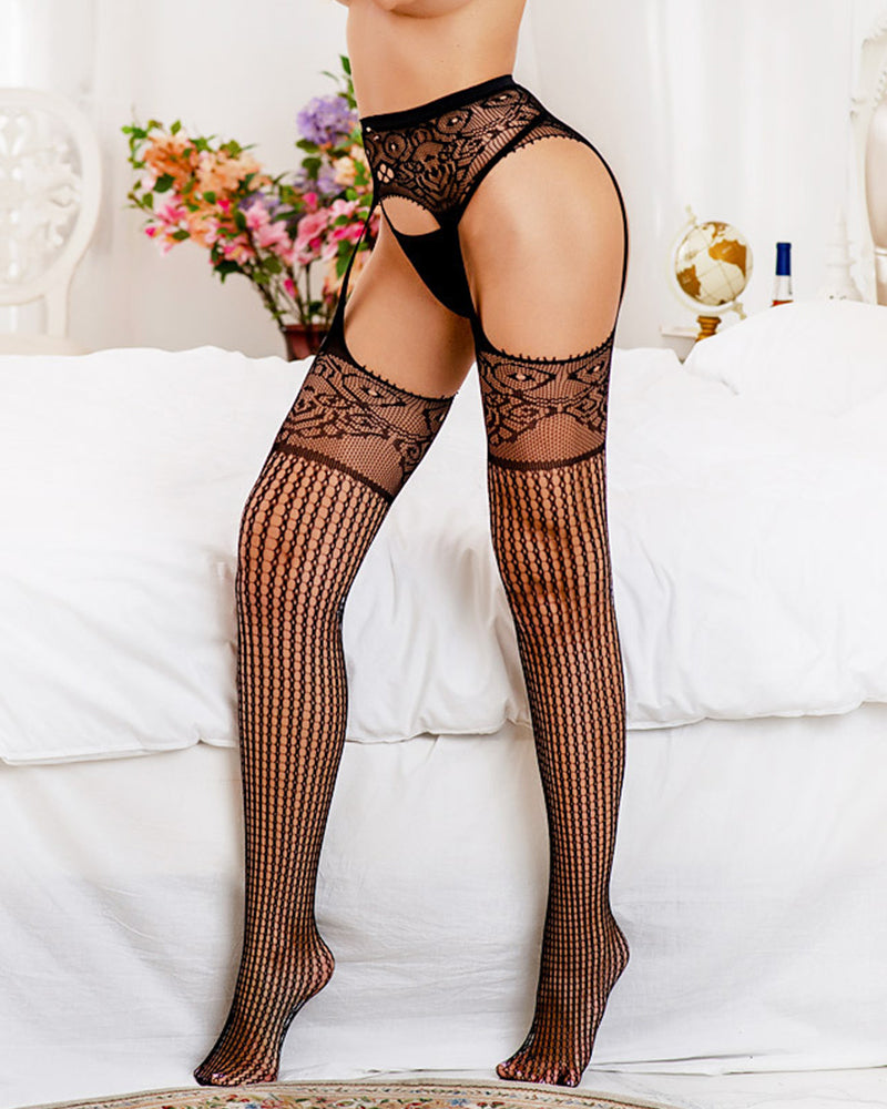 Solid Lace Patchwork Skinny Stocking