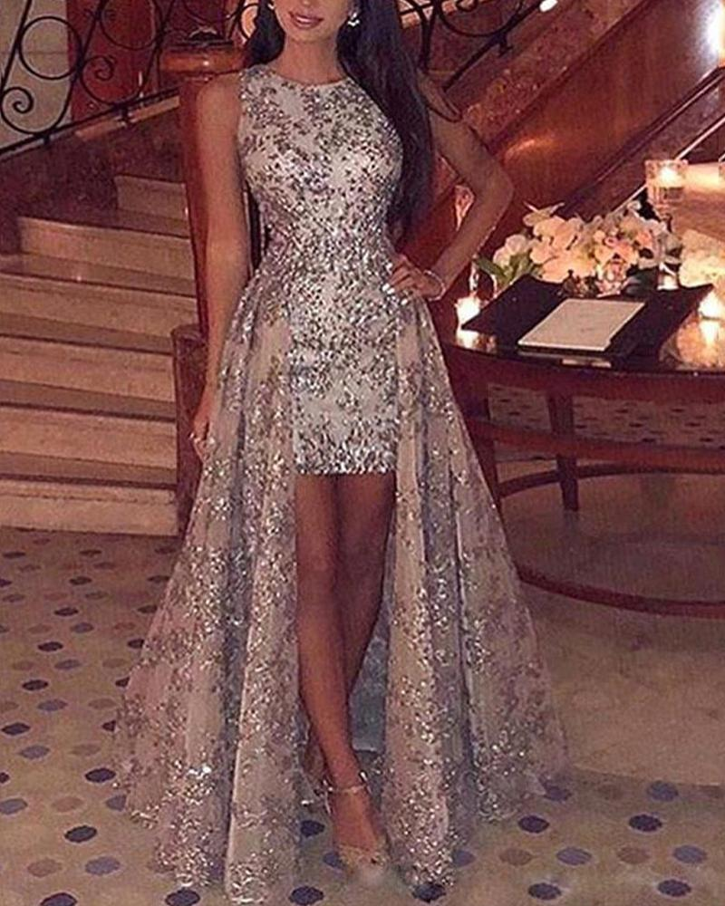 Sequin Sleeveless Slit Party Dress