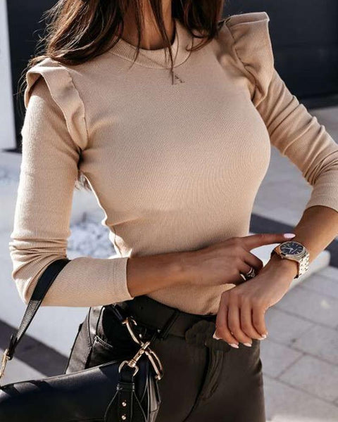 Solid Color Ruffle Long Sleeve Blouse