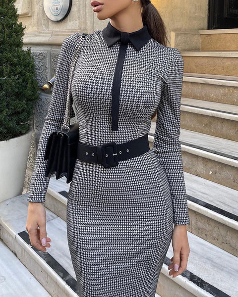 Houndstooth Colorblock Long Sleeve Work Dress