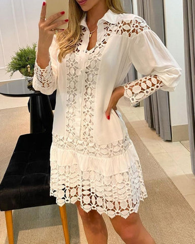 Puff Sleeve Button Front Hollow-out Lace Dress
