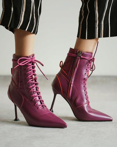 Stitching Lace-up Pointed-toe Martin Boots
