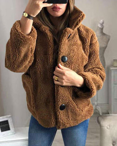 Faux Sherpa Button-Up Coat