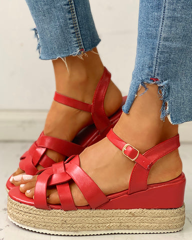 Multi-Strap Buckled Platform Wedge Muffin Sandals