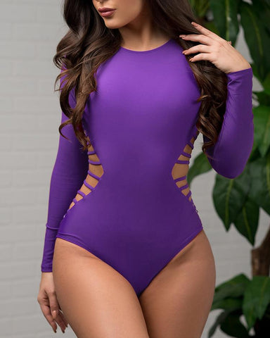 Side Cut Out Strappy One-piece Swimwear