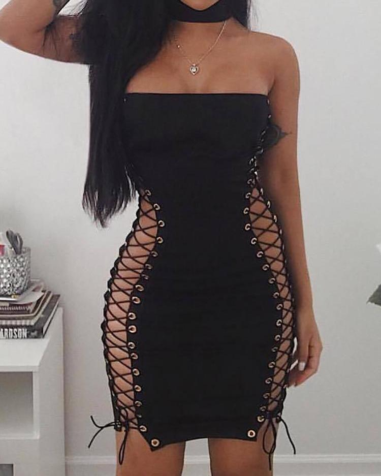 Sexy Side Lace-Up Eyelet Patchwork Tube Dress