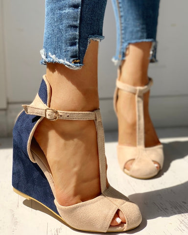Suede Colorblock Cutout Wedge Shoes