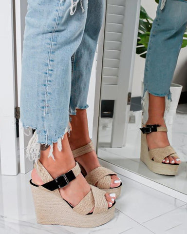 Colorblock Cross Strap Wedge Sandals
