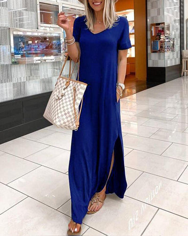 V Neck Short Sleeve Shift Maxi Dress
