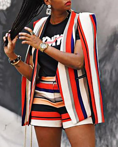 Cape Colorblock Striped Blazer & Shorts Sets