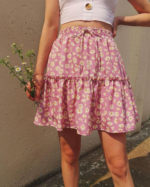 Floral Pleating Mini Skirt