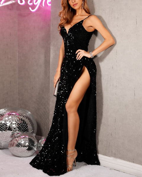Sequin Spaghetti Strap Slit Dress